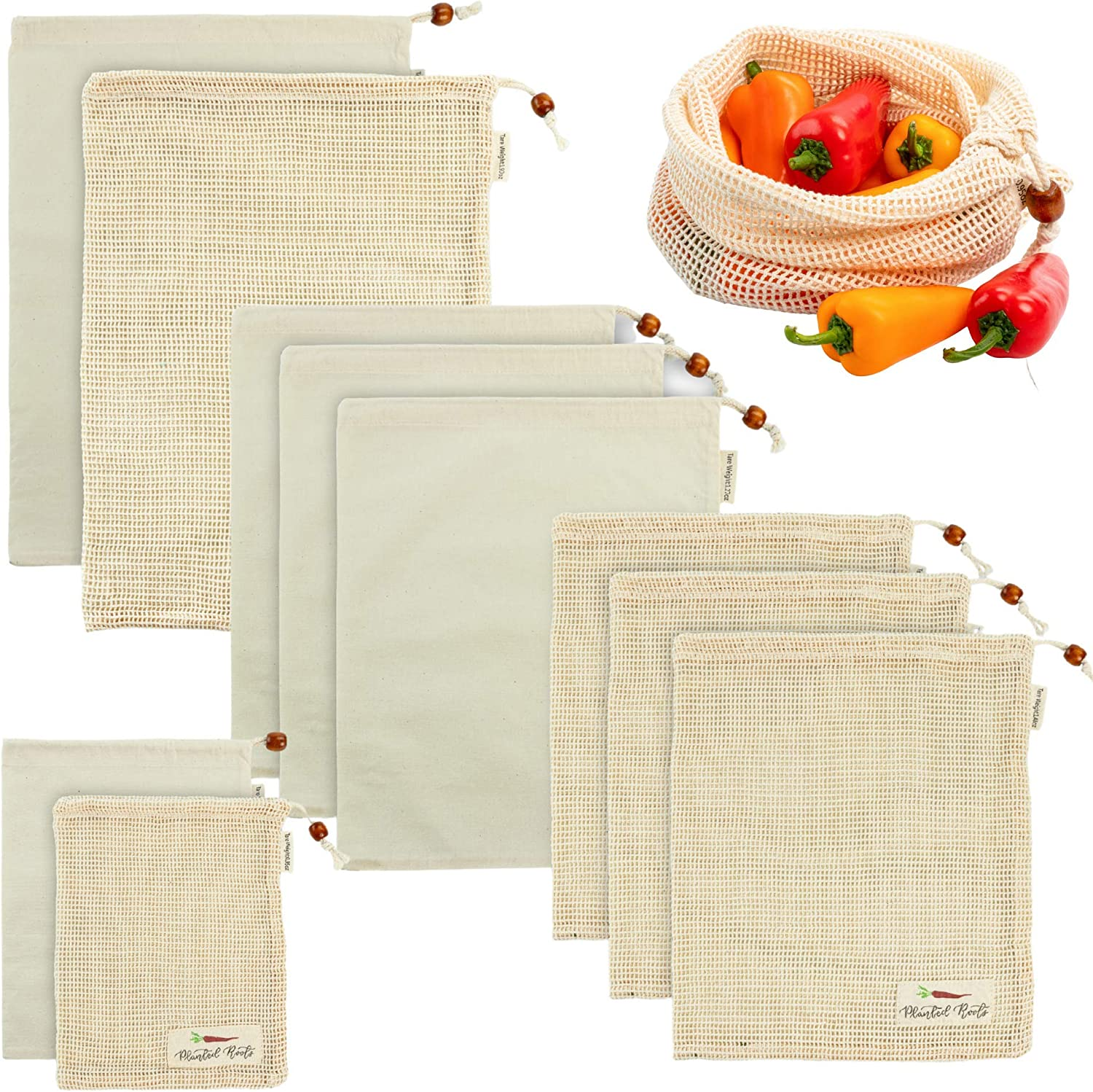 Planted Roots Reusable Produce Grocery Bags 100% Organic Cotton 10 Pack Eco Friendly Zero Waste Zero Plastic Muslin and Mesh Veggie Storage Biodegradable Tare Weight Tag Double Stitched Bulk Food