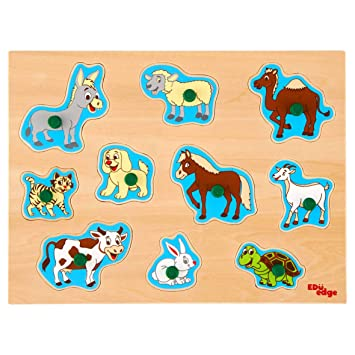 Eduedge Domestic Animals Puzzle.• Printed on high Quality Plywood with Child Safe Inks.• Smooth Edges and Corners .• Pencil Grip knobs.