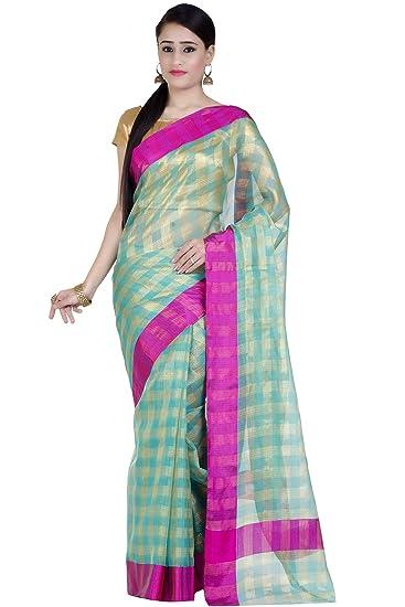 b301faa46a Chandrakala Women's Blue Kota check Cotton Banarasi Saree(1273BLU ...