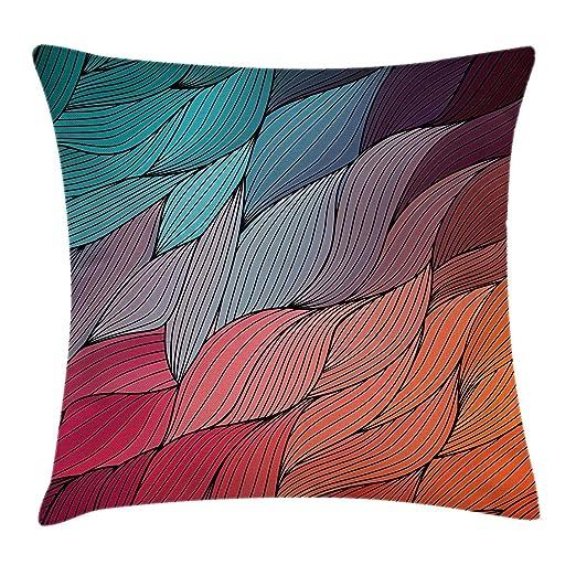 yting Funda de cojín Almohada Dibujado a Mano Ondas Textura ...