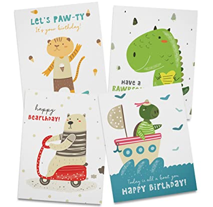 Amazon Kids Birthday Card Set 12 Recycled Cards And