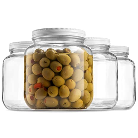 139ecc0d1faa Half Gallon Glass Mason Jar (64 Oz) Wide Mouth with Metal Airtight Lid,  USDA Approved BPA-Free Dishwasher Safe Canning Jar for Fermenting, Sun Tea,  ...
