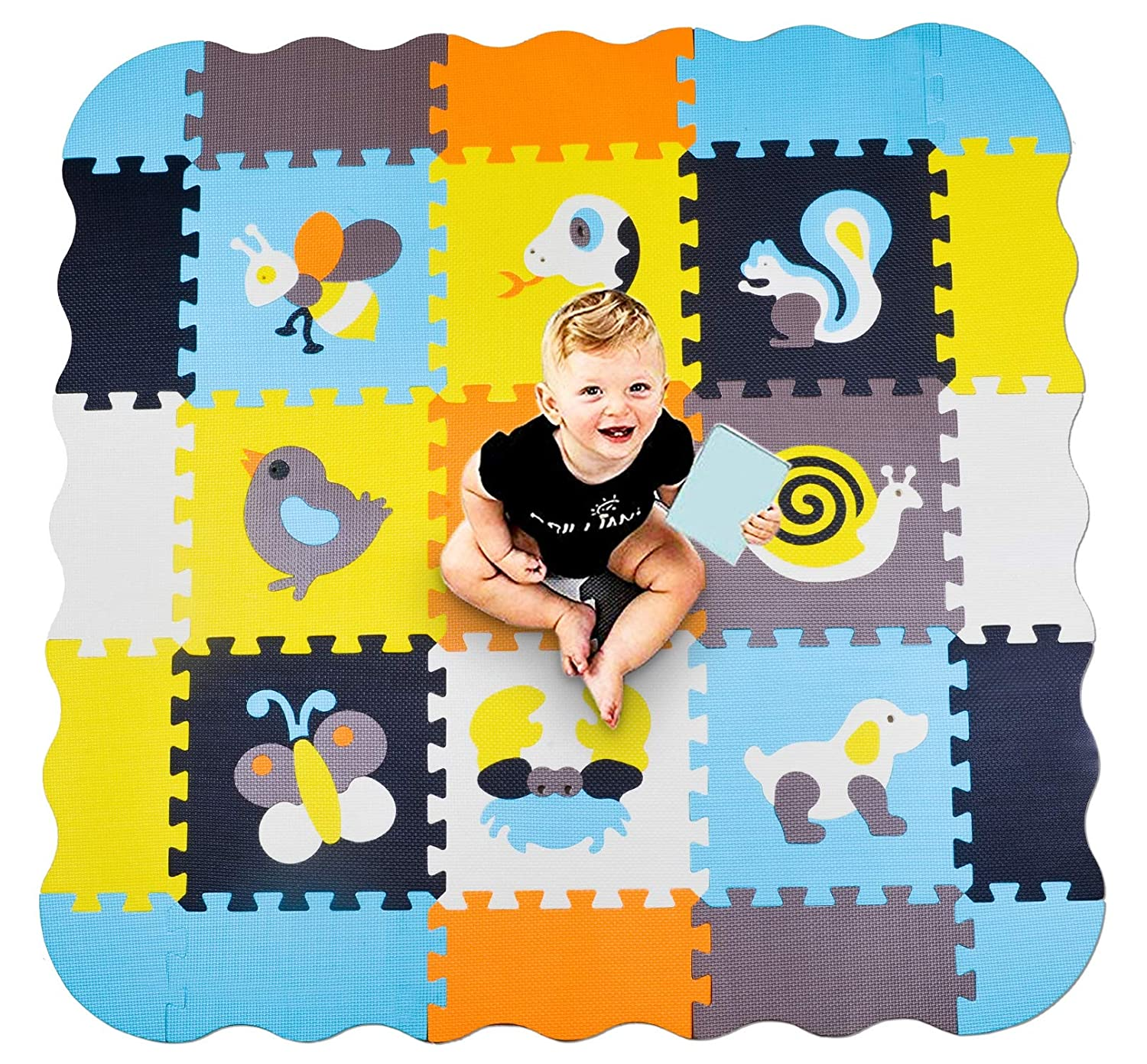 Children Play Room /& Baby Nurseries Baby Fence Play Area Foam Tiles for Floor 45 Extra Thick Project Mc Square-Neutral Colors 45