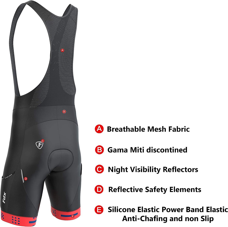 FDX Mens All Day Bib shorts 3D Gel Camoscio Imbottito Collant Tasche Ciclismo Pantaloncini