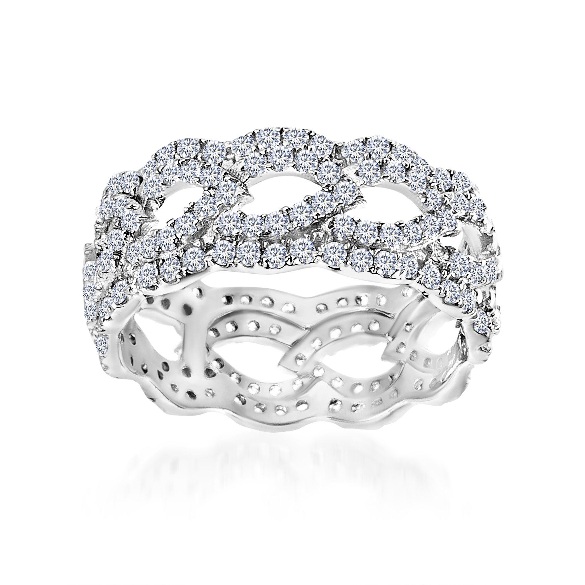 Mia Sarine Cubic Zirconia Open Leaf Design Eternity Band Ring in Rhodium over Sterling Silver Size 7