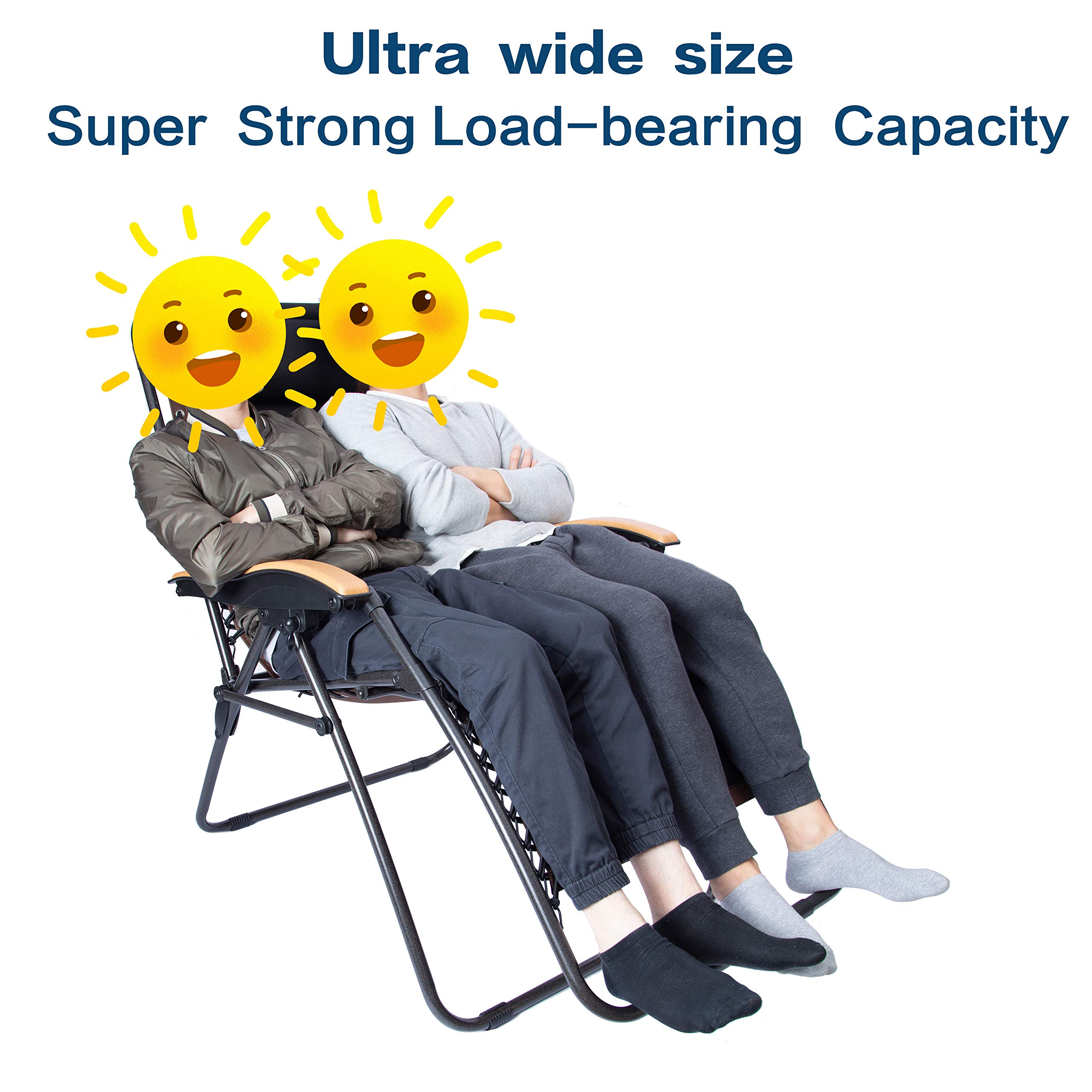 LUCKYBERRY Deluxe Oversized Padded Zero Gravity Chair XL Black Brown Cup Holder Lounge Patio Chairs Outdoor Yard Beach Support 350lbs by LUCKYBERRY (Image #2)