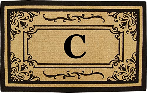 Nedia Home Heavy Duty Coco Georgetown Doormat, 24 by 39-Inch, Monogrammed C