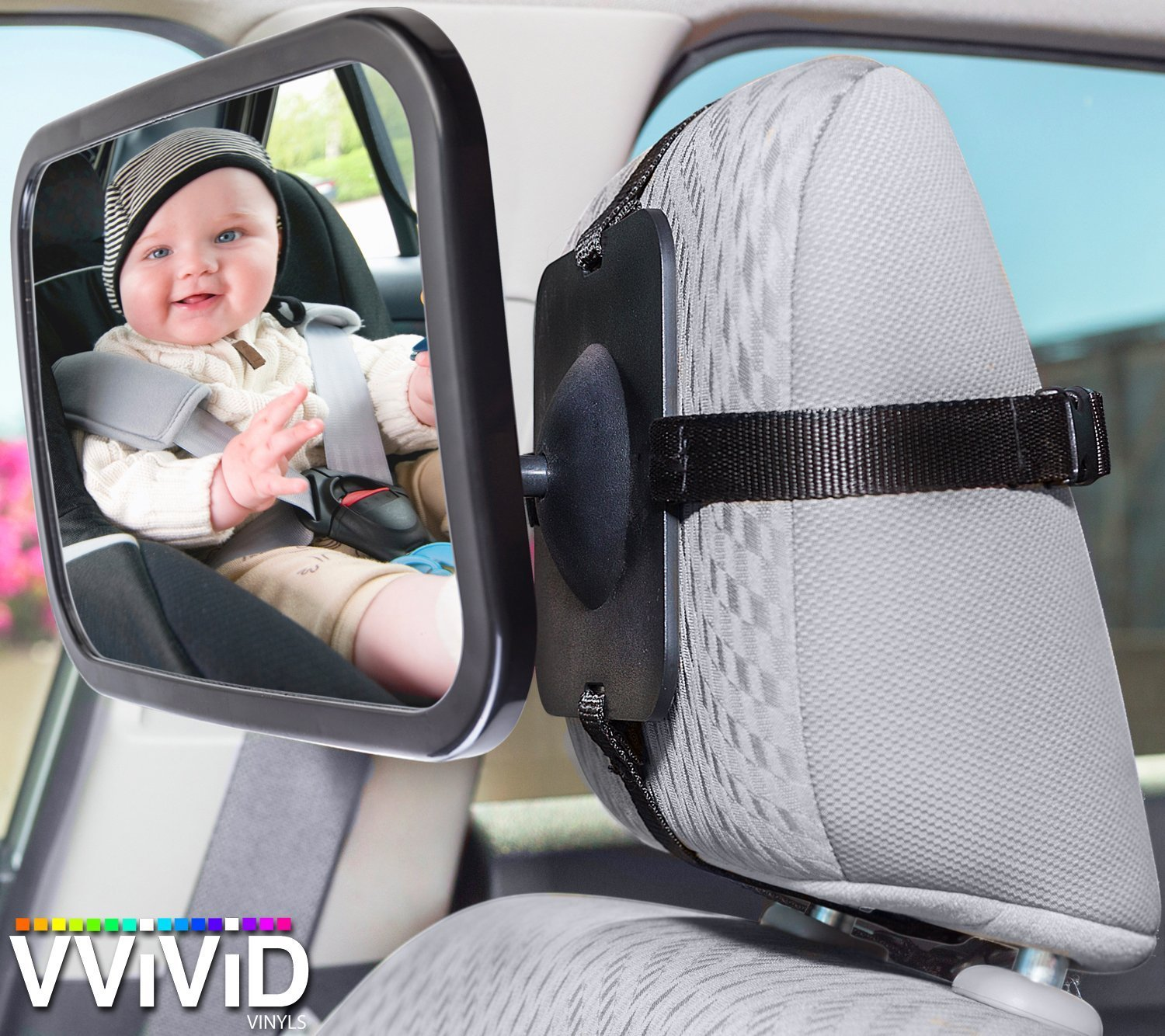 VViViD Adjustable Headrest Mounted Rear View Backseat Baby Safety Mirror