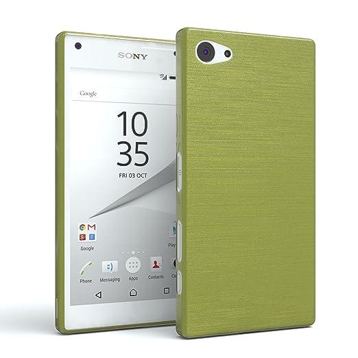EAZY CASE Hülle für Sony Xperia Z5 Compact Schutzhülle Silikon, gebürstet, Slimcover in Edelstahl Optik, Handyhülle, TPU Hüll