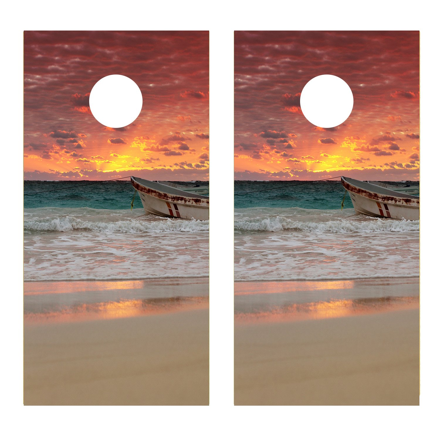 Sunset on the Ocean CORNHOLE DECAL WRAP SET Decals Board Boards Vinyl Sticker Stickers Bean Bag Game Wraps Vinyl Graphic Image Corn Hole (Laminated)