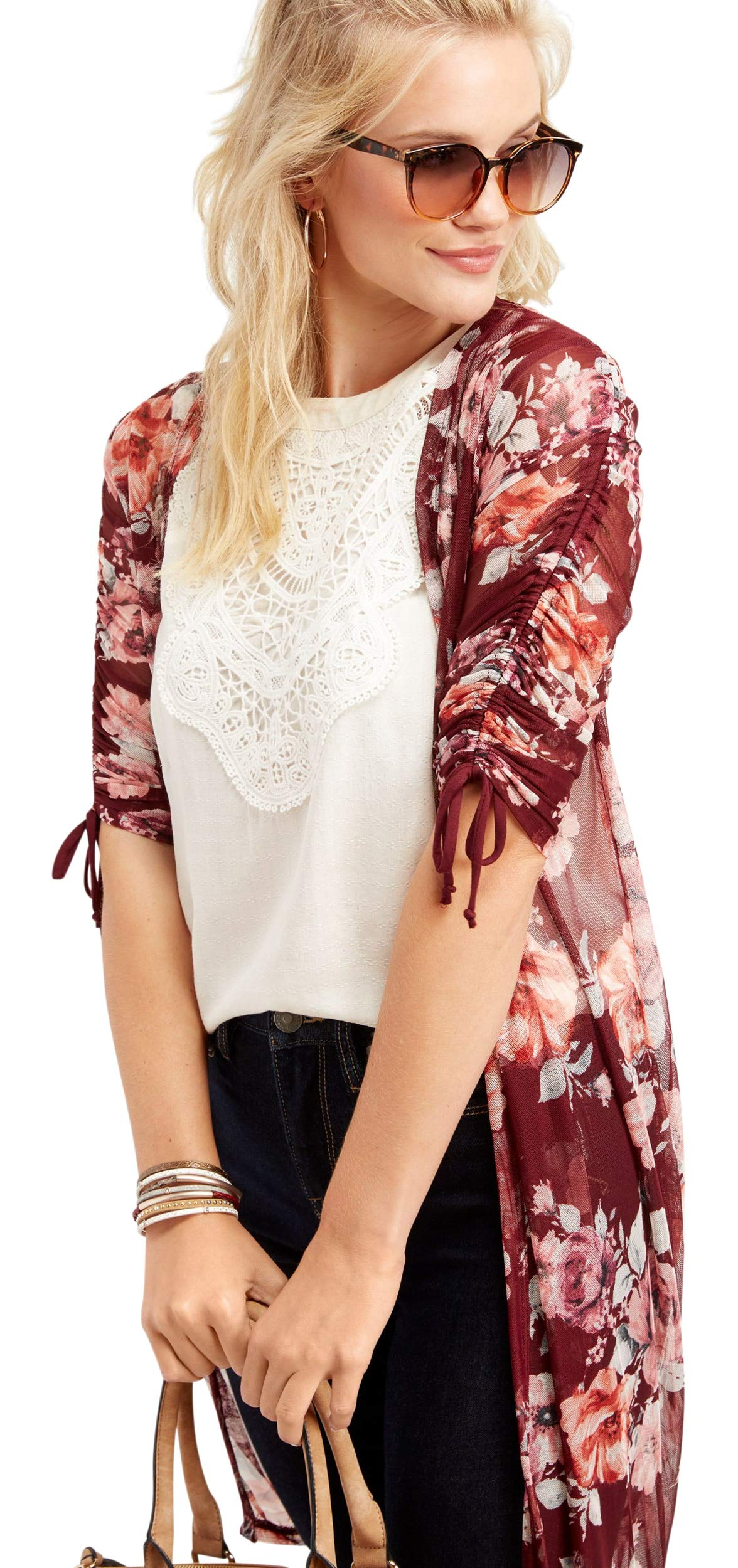 Maurices Women's Floral Cinched Shoulder Kimono Xx Large Royal Wine Combo