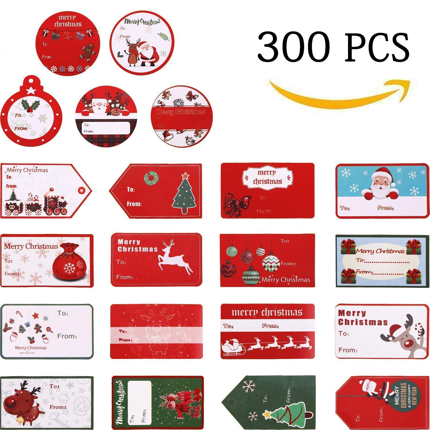 Christmas Tags.300 Pcs Christmas Gift Tags Christmas Stickers Name Tags Labels Decorative Stickers For Gifts