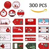 300 Pcs Christmas Gift Tags,Christmas Stickers Name Tags Labels Decorative Stickers for Gifts