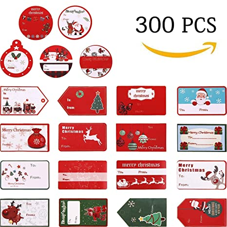 Christmas Name Tags.300 Pcs Christmas Gift Tags Christmas Stickers Name Tags Labels Decorative Stickers For Gifts