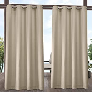 Exclusive Home Curtains Indoor/Outdoor Solid Cabana Grommet Top Curtain Panel Pair, 54x84, Natural
