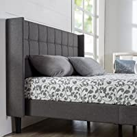 Zinus Dori Upholstered Square Stitched Wingback Platform Bed / Mattress Foundation / Easy Assembly / Strong Wood Slat Support, Full