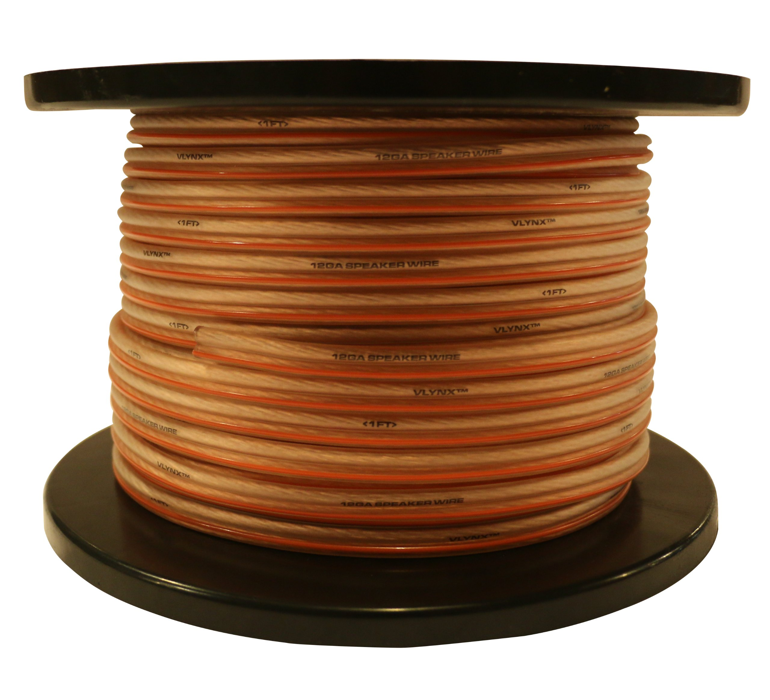 VLYNX Premium 12 Gauge 200 Feet True 12AWG Vlynx Speaker Cable Wire. High Quality, Flexible, 12AWG-200' Speaker Cable Spool [Positive (+) is marked with a line]