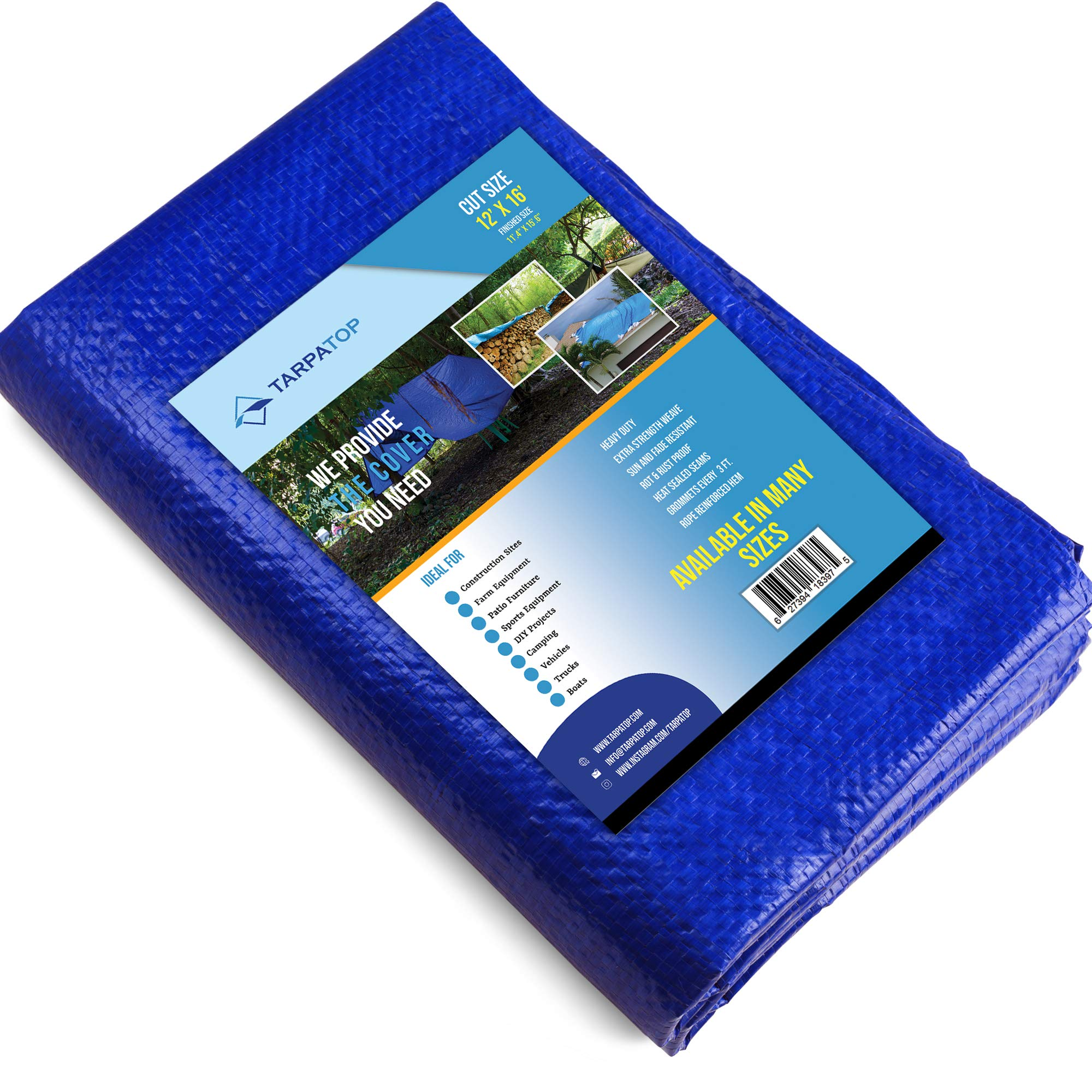12x16Waterproof Multi-Purpose Poly Tarp - Blue Tarpaulin Protector For Cars, Boats, Construction Contractors, Campers, And Emergency Shelter. Rot, Rust And UV Resistant Protection Sheet by TARPATOP