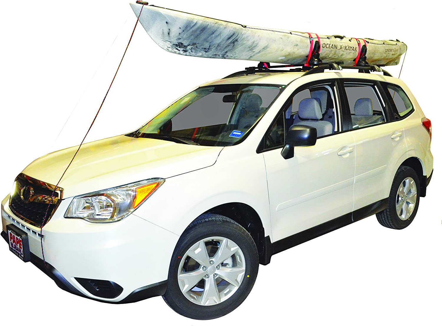 with Bow and Stern Lines Set of 4 Malone Saddle Up Pro Universal Car Rack Kayak Carrier