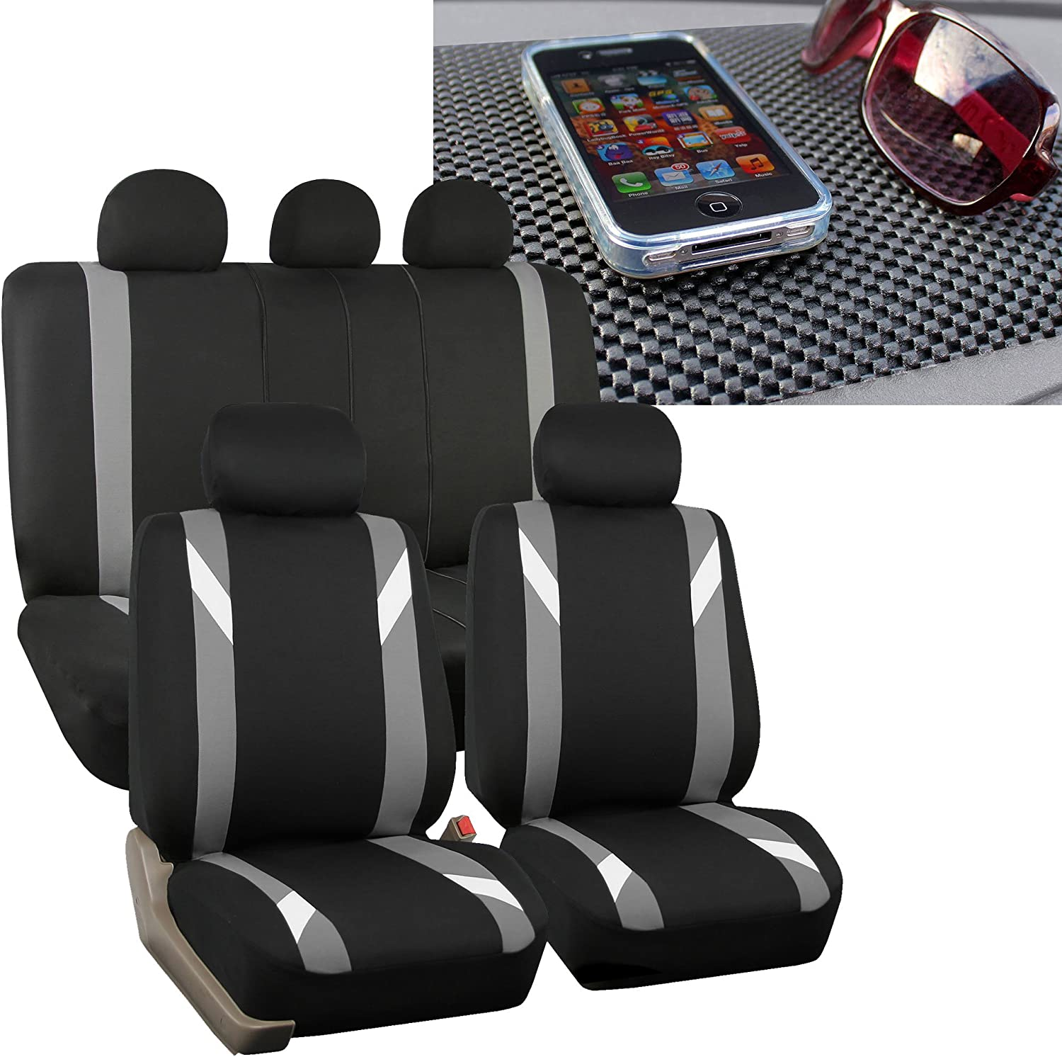 FH Group FH-FB033115 Three Row-Premium Modernistic Seat Covers Gray/Black FH1002 Non-Slip Dash Pad- Fit Most Car, Truck, SUV, or Van