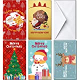 KIDPAR 60Pcs Christmas Card Money Holder in 5 Holiday Cute Festive Designs 30 Christmas Greeting Cards & 30 Envelopes