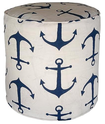 Amazon Metje Anchor PoufOttoman 40 Cylinder Navy Home Impressive Anchor Pouf
