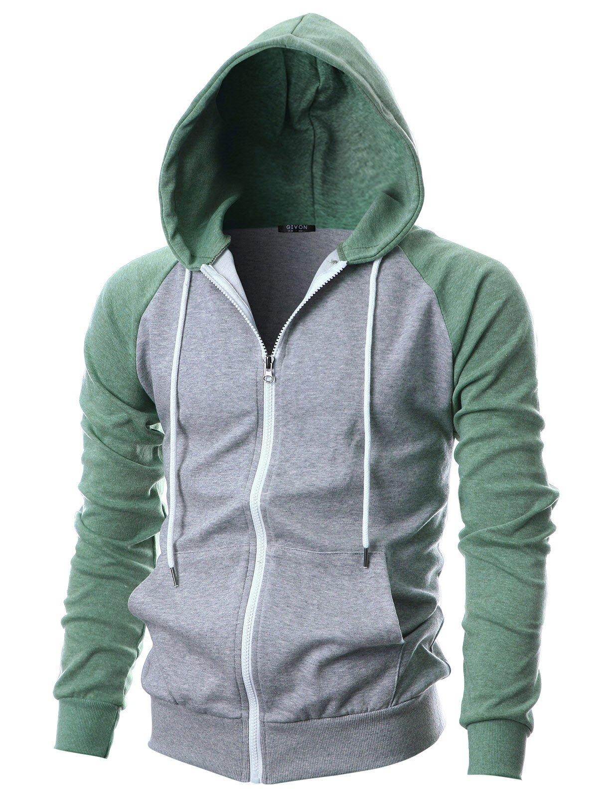 GIVON Mens Slim Fit Long Sleeve Lightweight Raglan Zip-up Hoodie with Kanga Pocket/DCF017-GREYJADEGREEN-M