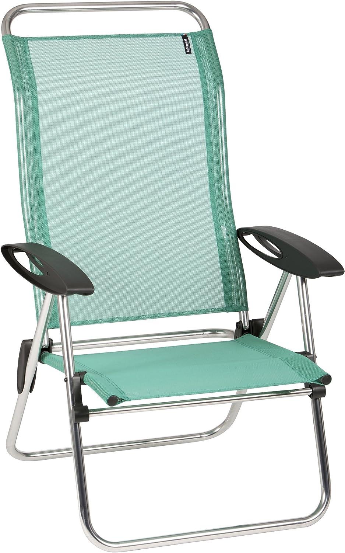 POLTRONA da giardino in metallo basso pieghevole portatile campeggio spiaggia sedia blu a righe x2