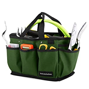 Housolution Gardening Tote Bag, Deluxe Garden Tool Storage Bag and Home Organizer with Pockets, Wear-Resistant & Reusable, 14 Inch, Dark Green