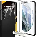 4 Pack EGV 2pcs Flexible TPU Screen Protector + 2pcs Tempered Glass Camera Lens Protector Compatible with Samsung Galaxy S21