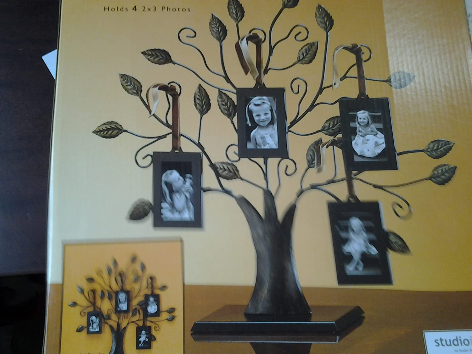 "Philip Whitney Bronze Family Tree of Life Centerpiece Display Stand with 4 Hanging Photo Picture Frames, 13"" W, Medium"