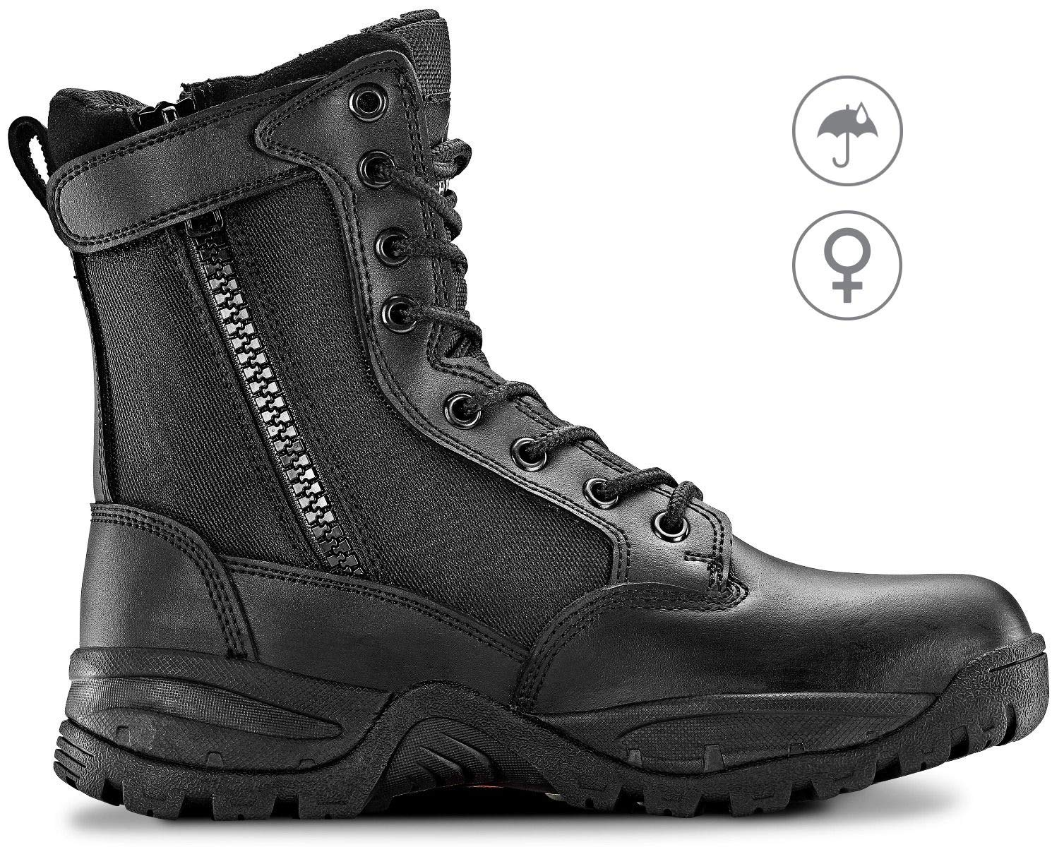 Maelstrom TAC Force 8'' Women's Military Tactical Work Waterproof Boots with Zipper, Style #F5180Z WP, Black, 8'', Size 9.5M