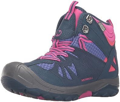 08ae4a870b068 Merrell Girls'' Capra Mid Waterproof Low Rise Hiking Shoes Blue (Navy/Multi
