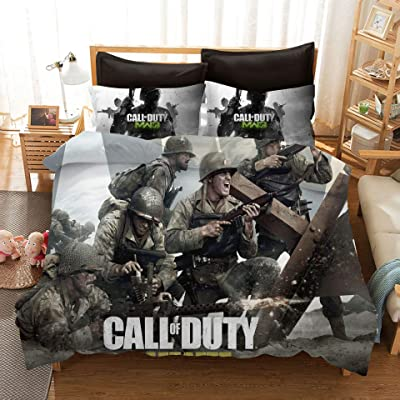 Kids Duvet Cover Sets 3D Call of Duty 3 Piece Bedding Set 100% Microfiber,Best Gift for Boys Teens, Adults, No Comforter, 1 Duvet Cover and 2 Pillow Shams,Best Gift for Boys Tens Adult, No Comforter: Kitchen & Dining