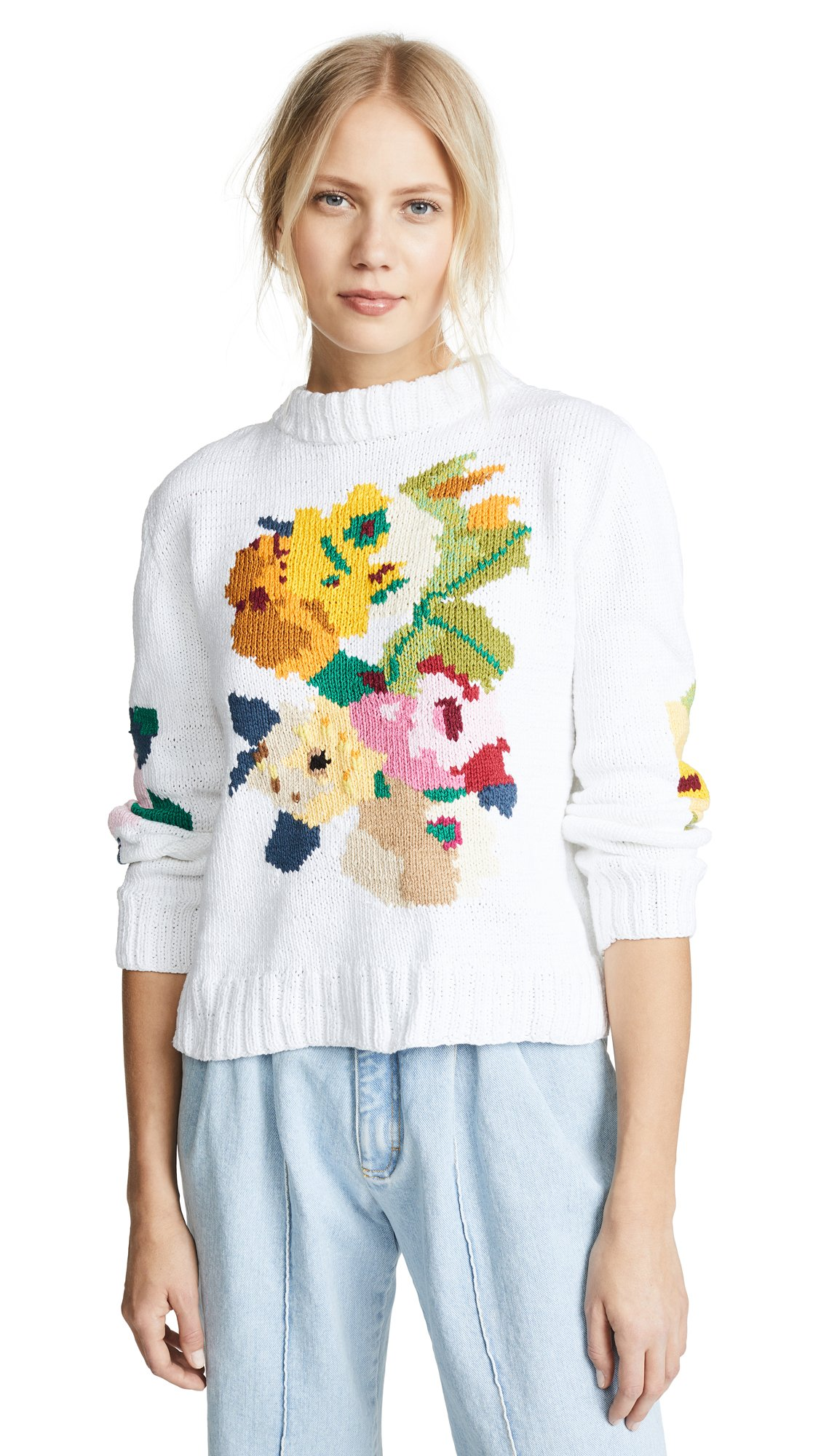 SMYTHE Women's Floral Intarsia Crew Sweater, White Multi, Small