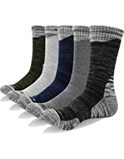 YUEDGE 5 Pairs Men's Cushion Crew Socks Outdoor Recreation Multi Performance Trekking Climbing Camping Hiking Walking Socks
