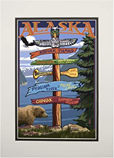 product image for Kodiak Island, Alaska - Destinations Sign (11x14 Double-Matted Art Print, Wall Decor Ready to Frame)