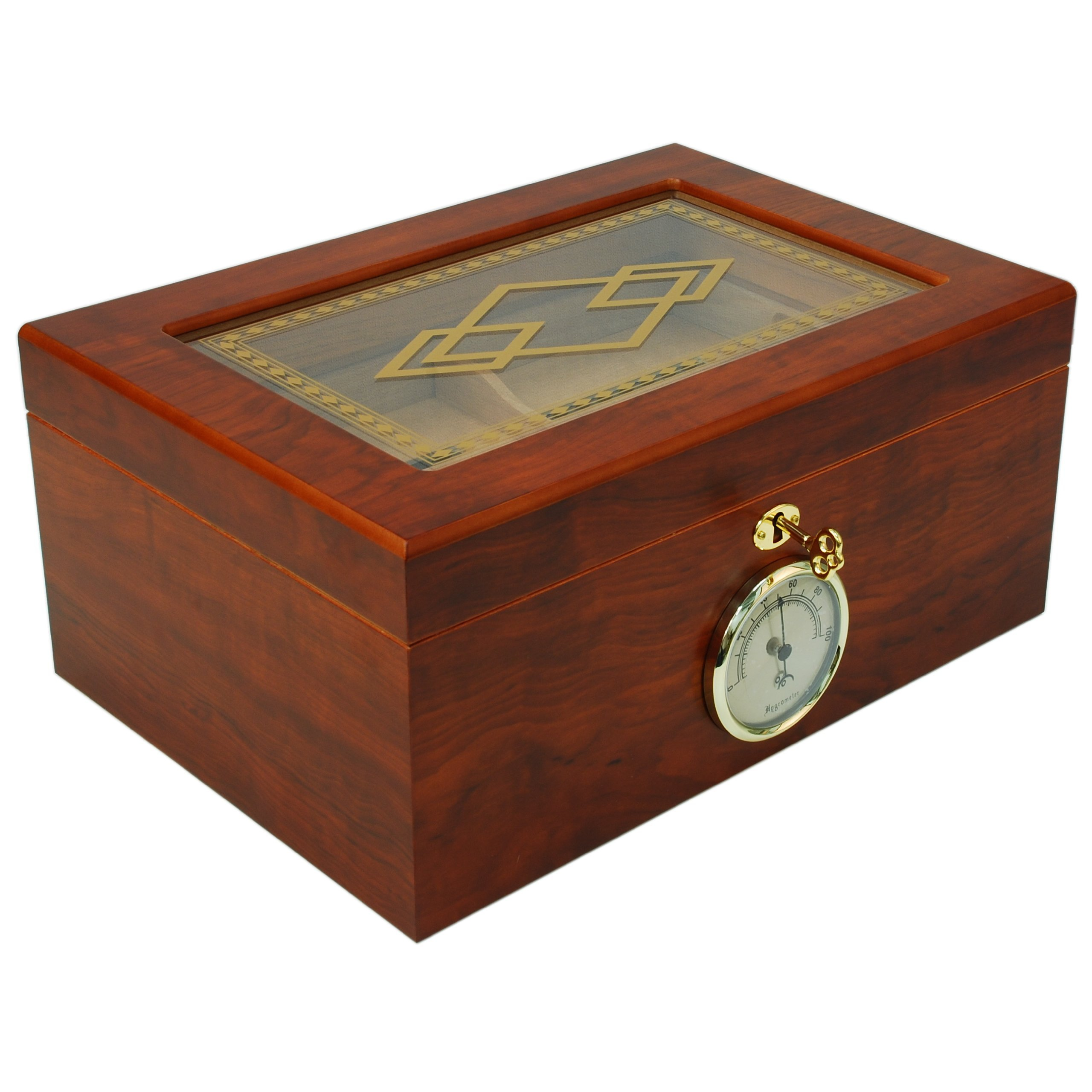 Orleans Group Bally Top Humidor with Embellished Glass