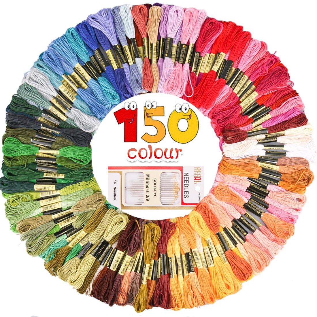 GeMoor 150 madejas de bordado con 16 agujas de bordado - 1200 m Premium color arco iris punto de cruz - hilo de punto de cruz de algodón con 6 hebras, ...