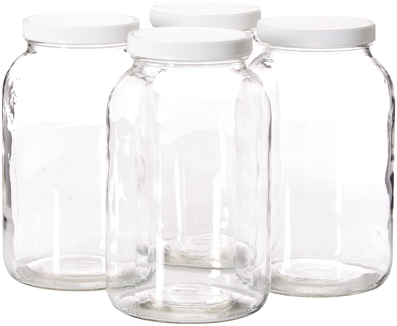 Amazoncom 4 Pack 1 Gallon Mason Jar Glass Jar Wide Mouth With