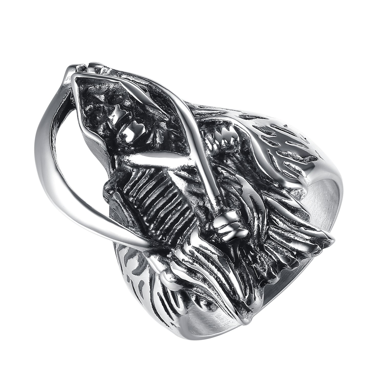 LineAve Men's Stainless Steel Grim Reaper Death Ring, Size 8, 8a5013s08 by LineAve (Image #1)