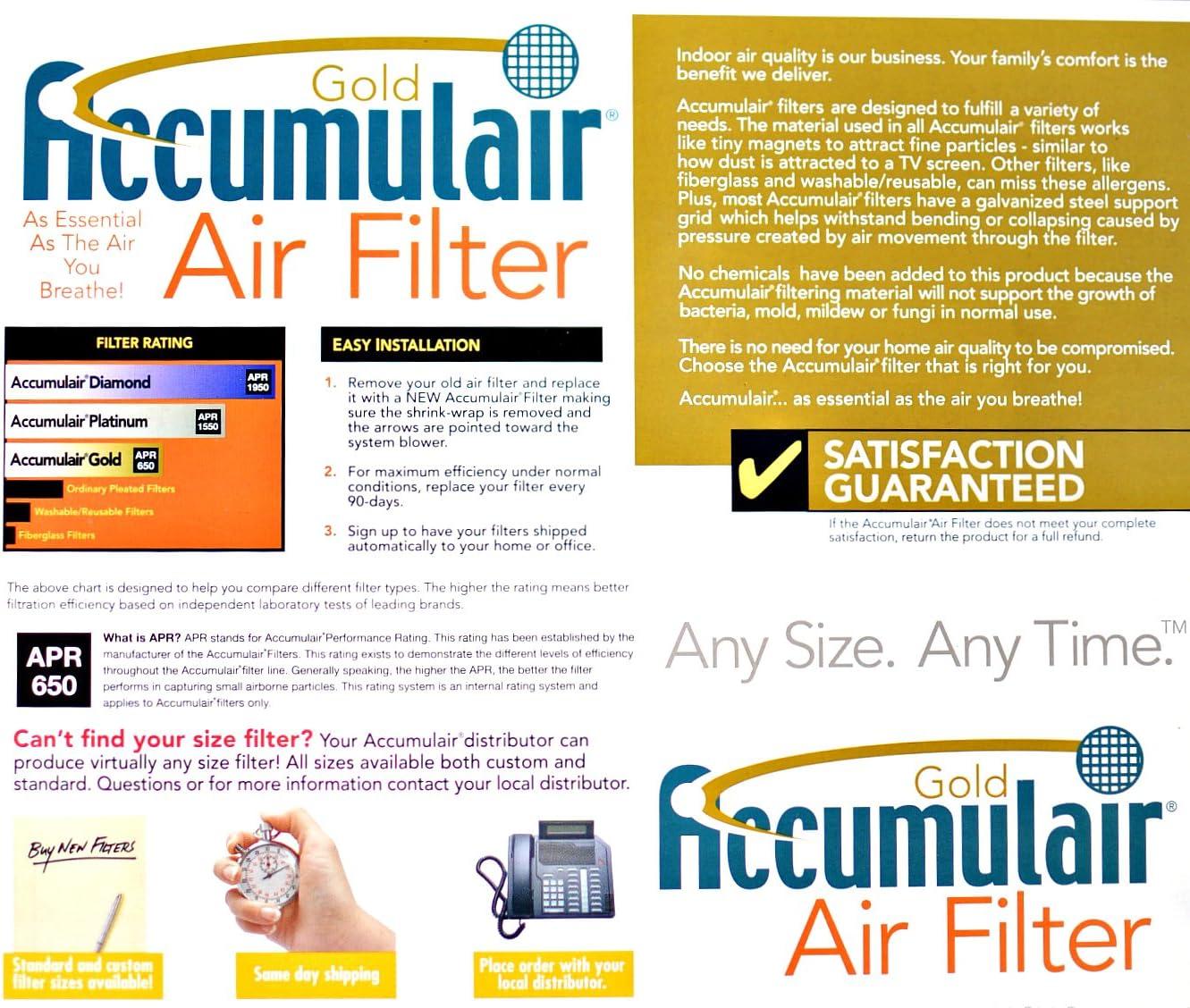 Accumulair Gold 16x24x0.5 15.5x23.5x0.5 4 Pack MERV 8 Air Filter//Furnace Filters