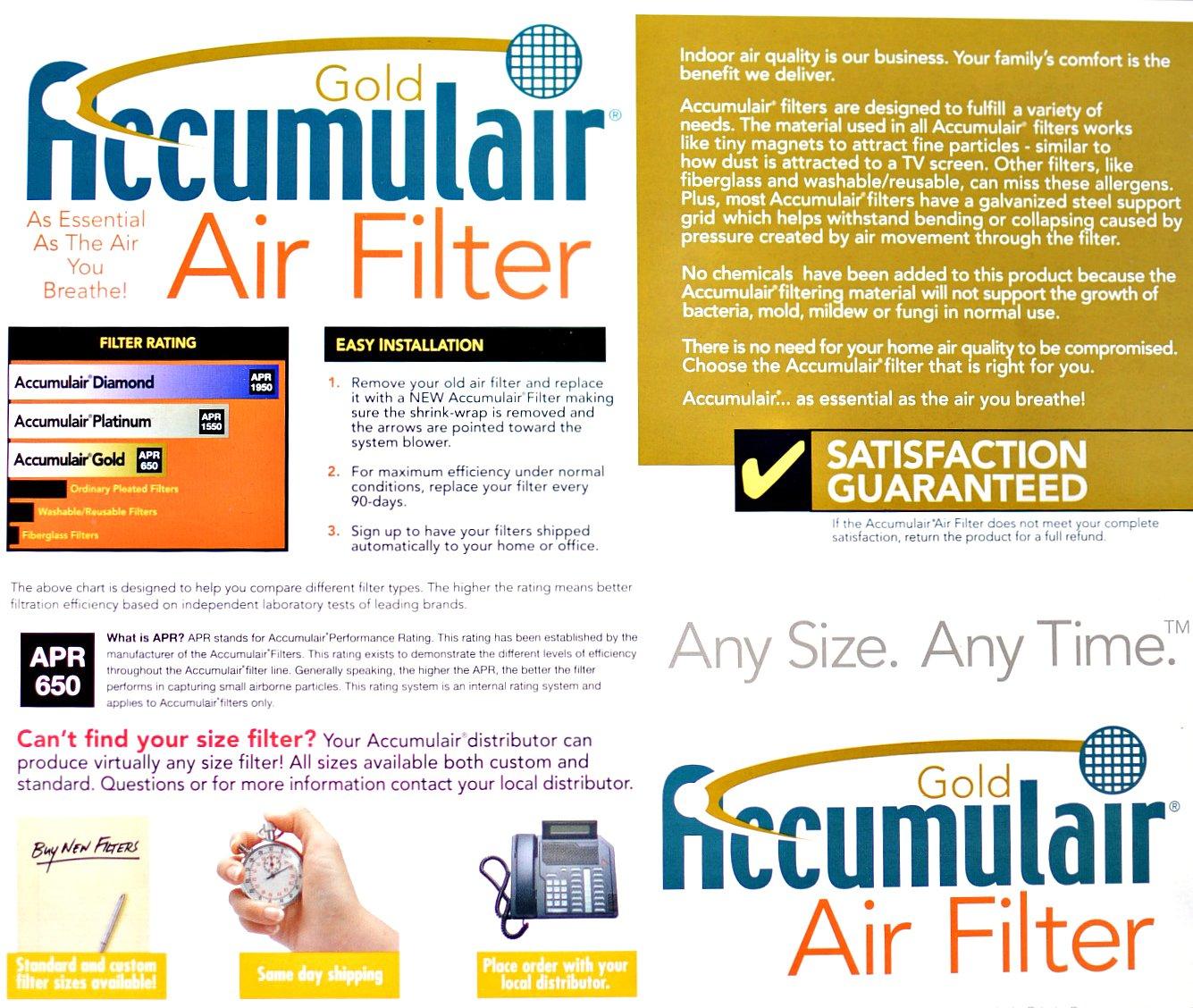 23-1//2x29-1//2 Accumulair Gold Filter MERV 8 24x30x1