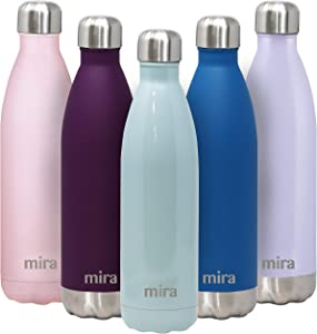MIRA 25 Oz Stainless Steel Vacuum Insulated Water Bottle - Double Walled Cola Shape Thermos - 24 Hours Cold, 12 Hours Hot - Reusable Metal Water Bottle - Leak-Proof Sports Flask - Pearl Blue