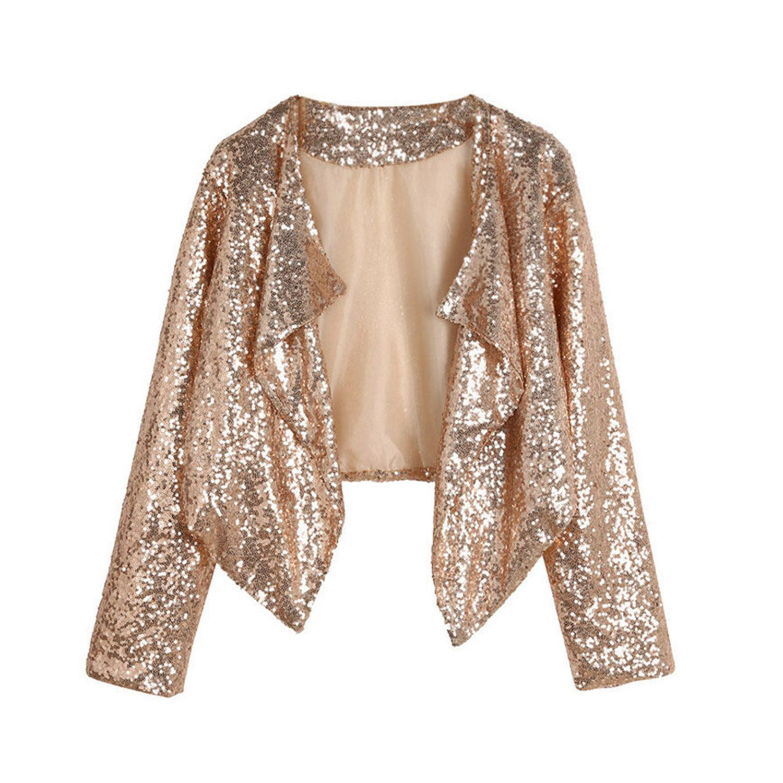 Mandaartins Women Short Coat Cardigan Sequins Long Sleeve Jacket Outerwear Slim Coat