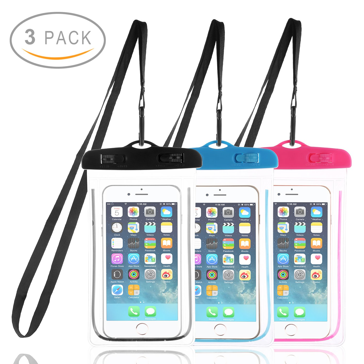 Waterproof Case, JTCTC 3 Pack Waterproof Phone Cases, Dry Bag, Pouch for iPhone X iPhone 8/8 Plus 7/7 Plus 6/6S Plus Samsung Galaxy S8 S7 S6 Edge and Other Phones up To 6'' (Black, Pink, Blue)