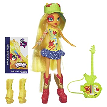 my little pony equestria girls applejack doll with guitar amazon co