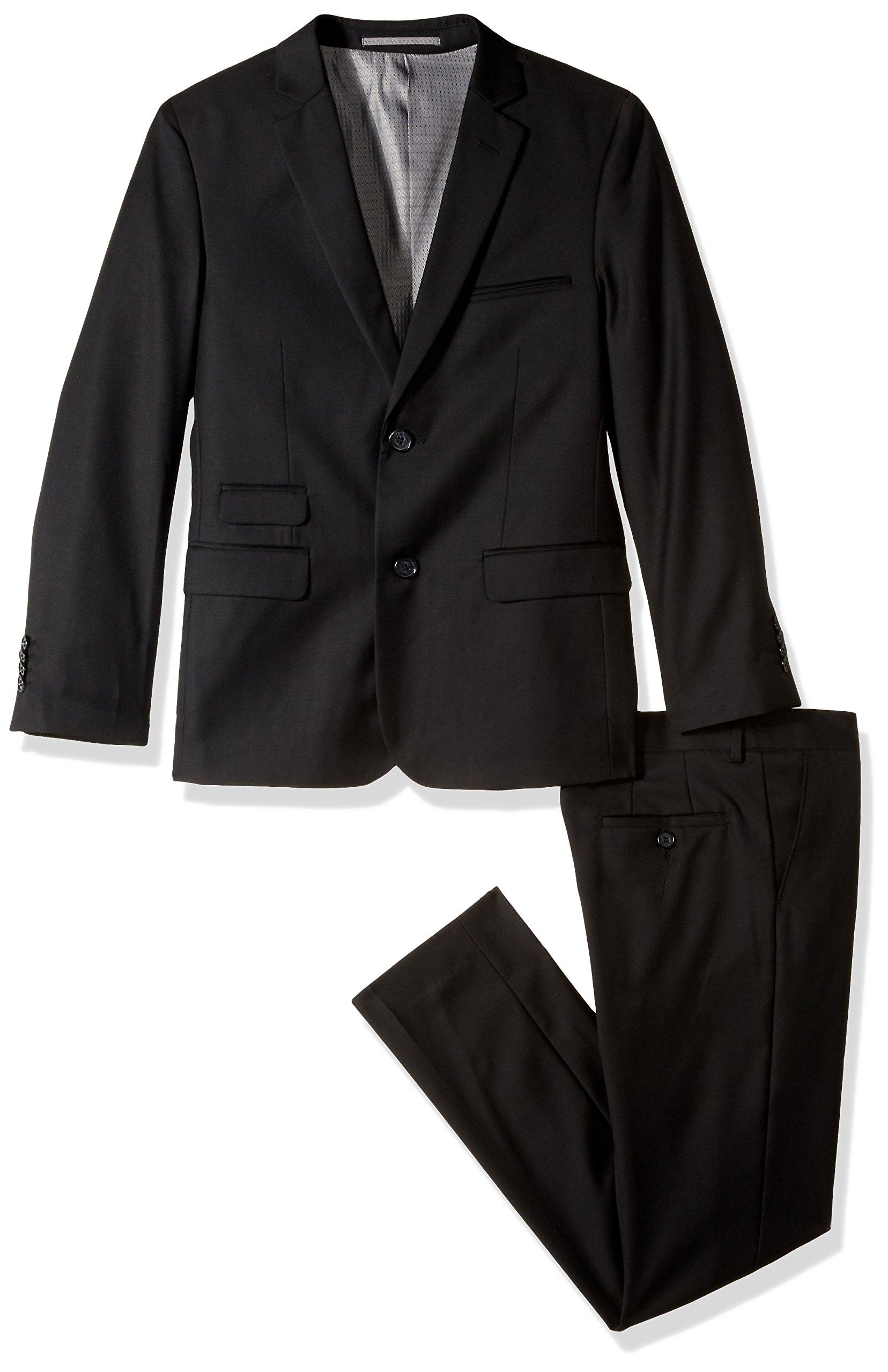 Isaac Mizrahi Boys' Big Solid 2pc Slim Fit Wool Suit, Black, 14