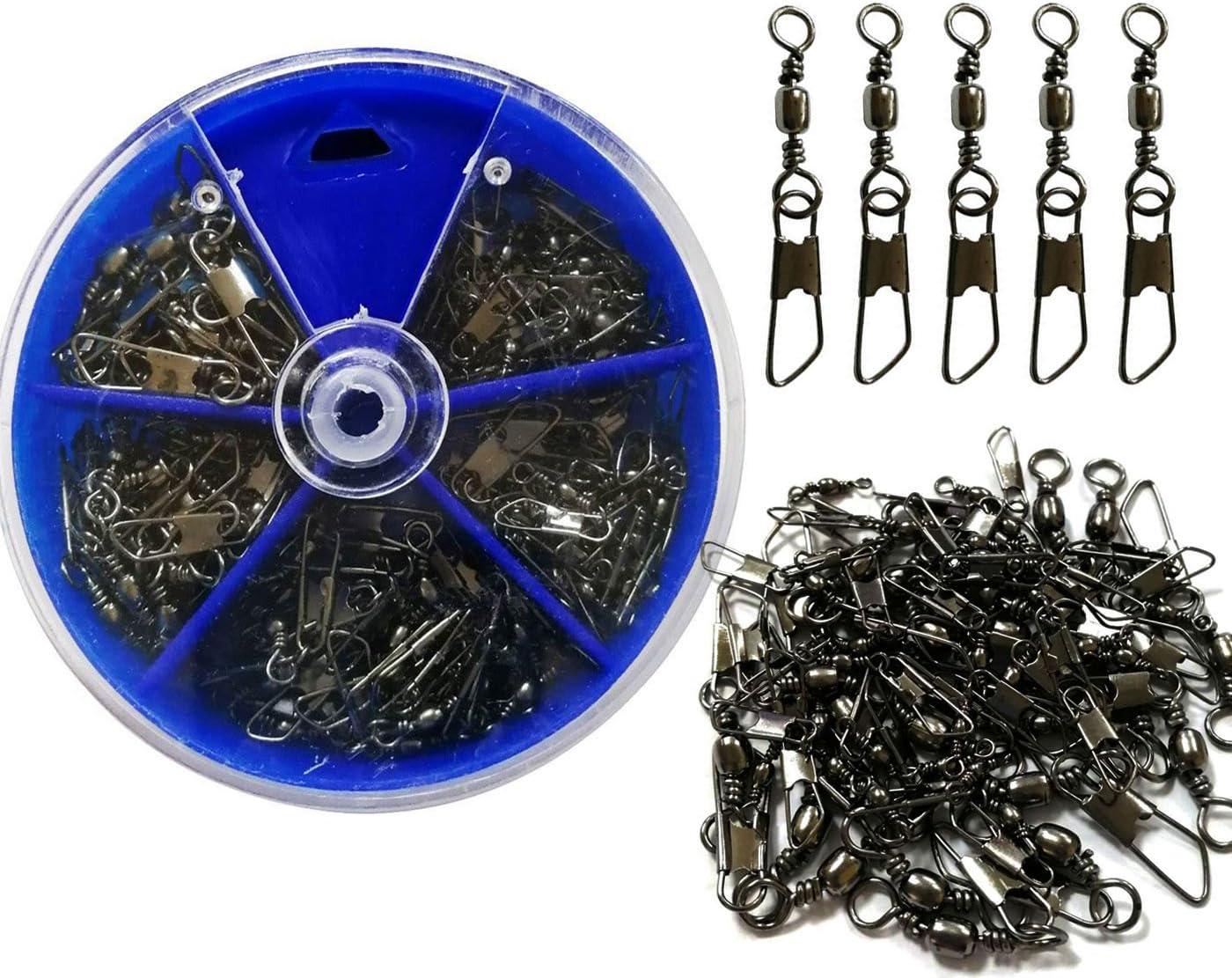 Shaddock - Kit de 100 piezas de pesca, giratorio con conector de seguridad para aparejos de pesca, tamaño #14, 12, 10, 8, 6
