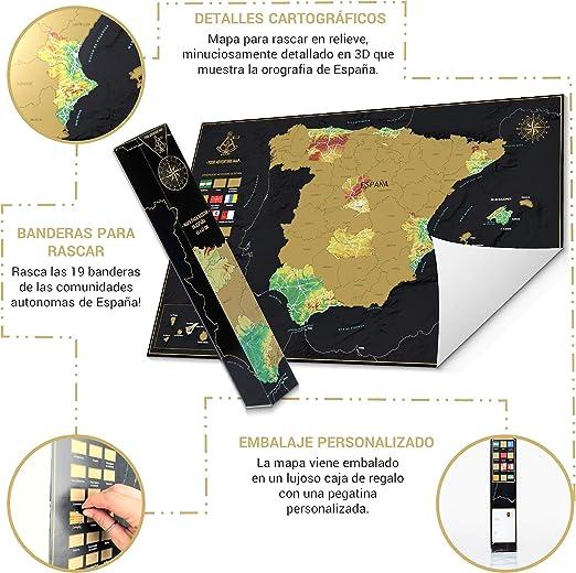 Your Adventure Mapa España Para Rascar (65 x 42) – Regalo Curioso ...